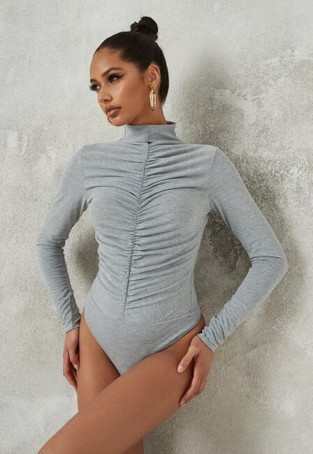 Missguided - Grey Ruched Front High Neck Bodysuit