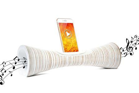 MANGOBEAT - Mangobeat Natural Speaker for Smartphones Striped White [35 cm]