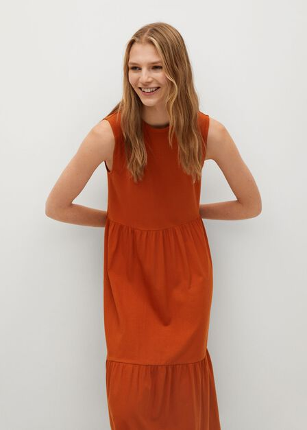 Mango - medium orange Fluted hem dress