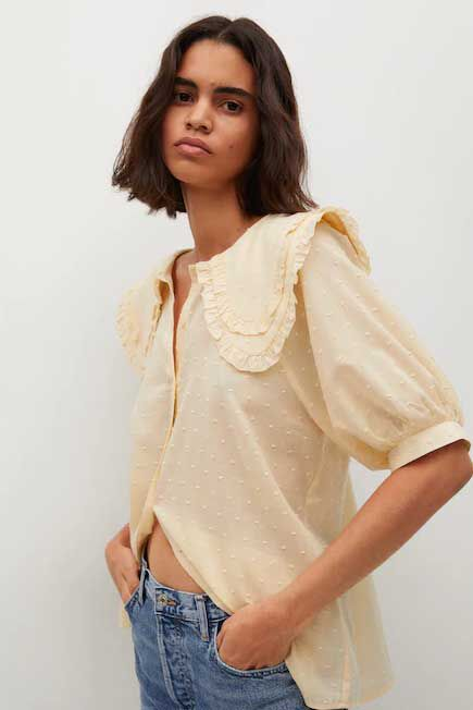 Mango - yellow Babydoll collar blouse, Woman