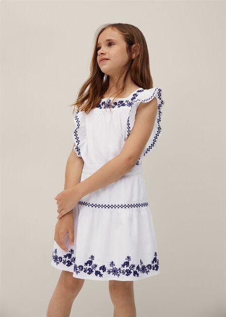 Mango - Natural White Embroidered Cotton Skirt, Kids Girl