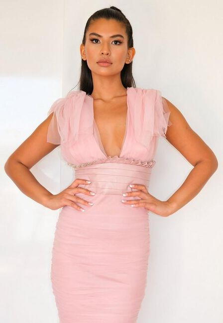 Missguided - Pink Blush Ruched Tulle And Faux Leather Midaxi Dress