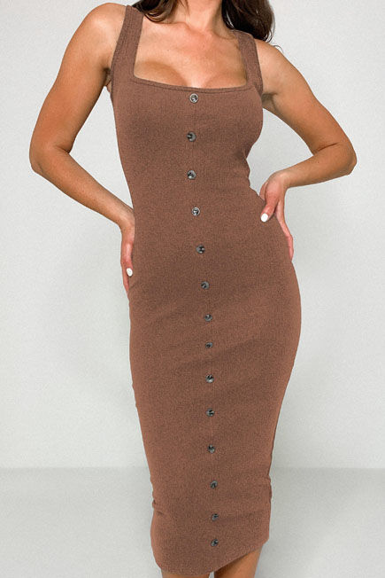 Missguided - Tan Rib Tortoiseshell Button Midaxi Dress