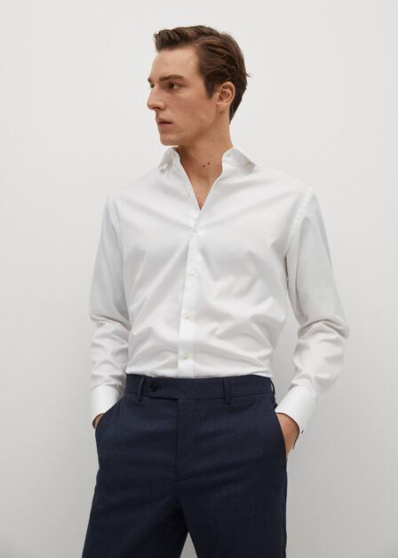 Mango - white Slim fit Tailored cotton shirt