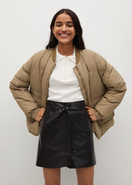 Mango - black Skin effect mini skirt