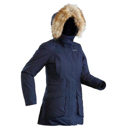 QUECHUA - S Women's Hiking Warm Waterproof Parka Sh500 U-Warm - Asphalt Blue