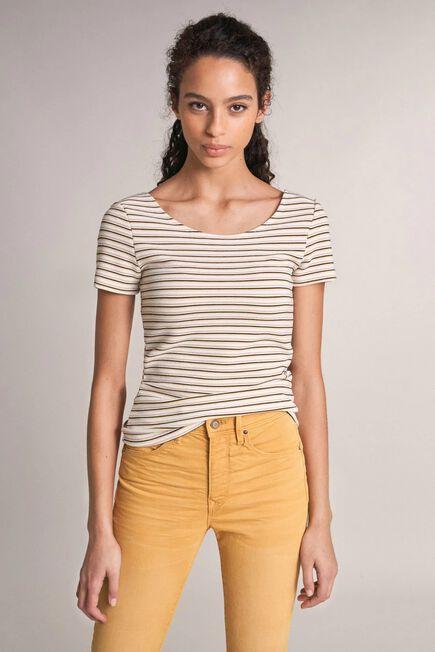 Salsa Jeans - Beige Striped round neck t-shirt