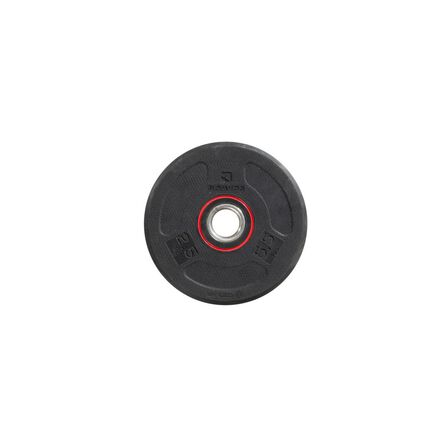 DOMYOS - 2.5 Kg Rubber Weight Disc 28 Mm - 2.5 Kg - Black