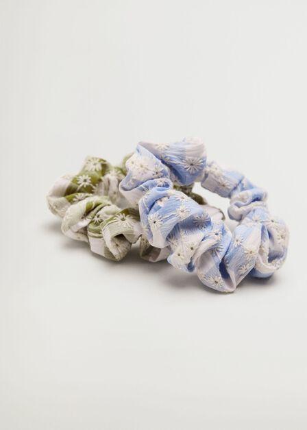 Mango - Medium Blue 2 Pack Printed Hair Ties, Kids Girl