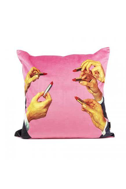 Seletti - Toiletpaper Cushion Cover Pink Lipsticks