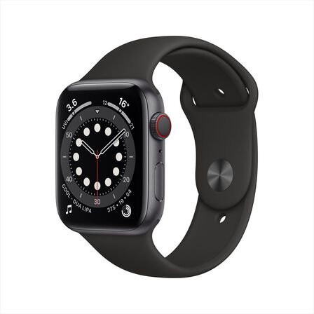 APPLE - Apple Watch Series 6 GPS + Cellular 44mm Space Grey Aluminium Case with Black Sport Band
