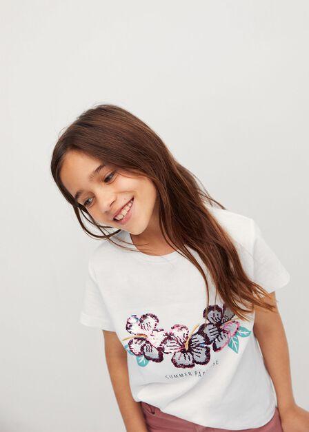 Mango - natural white Reversible sequins T-shirt, Kids Girl