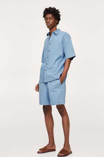 Mango - open blue Relaxed denim shorts, Men
