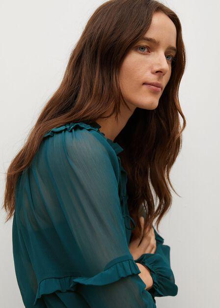 Mango - green Flowy ruffle blouse