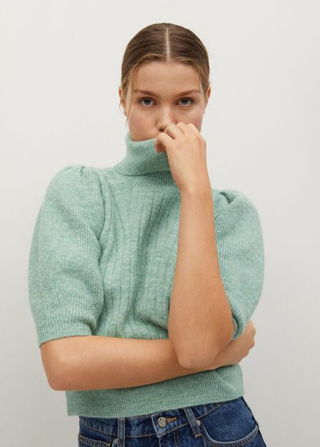 Mango - bright green Knitted cropped sweater