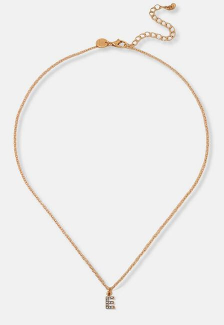 Missguided - Gold Look Pave E Initial Pendant Necklace, Women