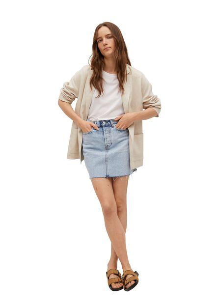 Mango - open blue Denim miniskirt with frayed hem, Women