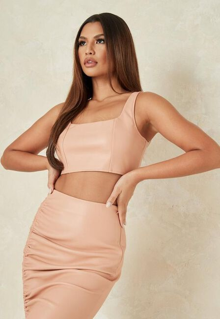Missguided - Orange Tangerine Co Ord Faux Leather Scoop Neck Crop Top