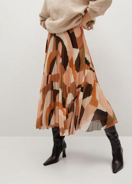 Mango - Orange Printed Pleated Skirt