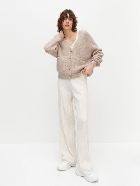 Reserved - Beige Cropped Cardigan With Pockets, Women