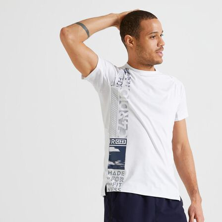 DOMYOS - Large  FTS 120 Fitness Cardio Training T-Shirt - Plain, Snow White