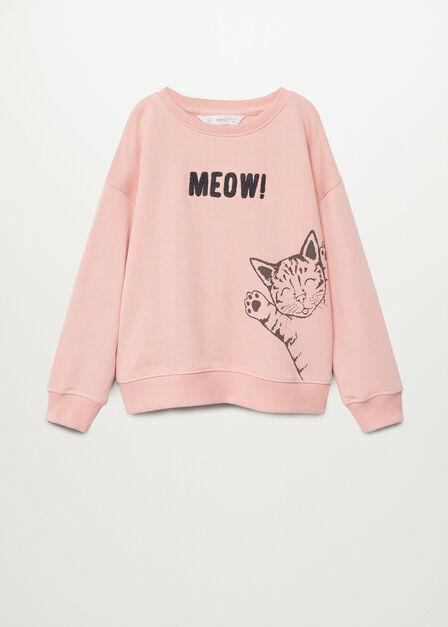 Mango - Light Pastel Pink Printed Organic Cotton Sweatshirt