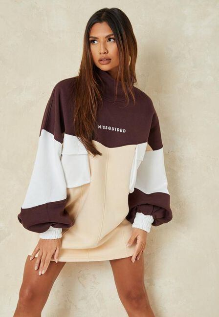 Missguided - Brown Colourblock Missguided High Neck Sweater Dress