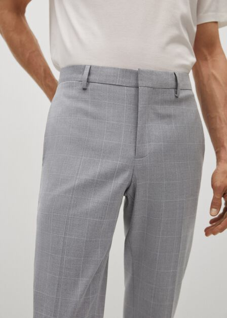 Mango - grey Super slim fit checked Tailored trousers, Men