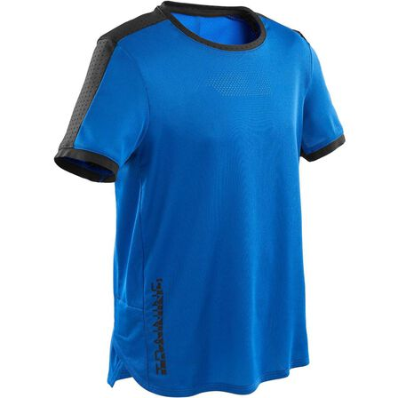 DOMYOS - 12-13Y Boys' Technical Breathable Gym T-Shirt S900 - Royal Blue