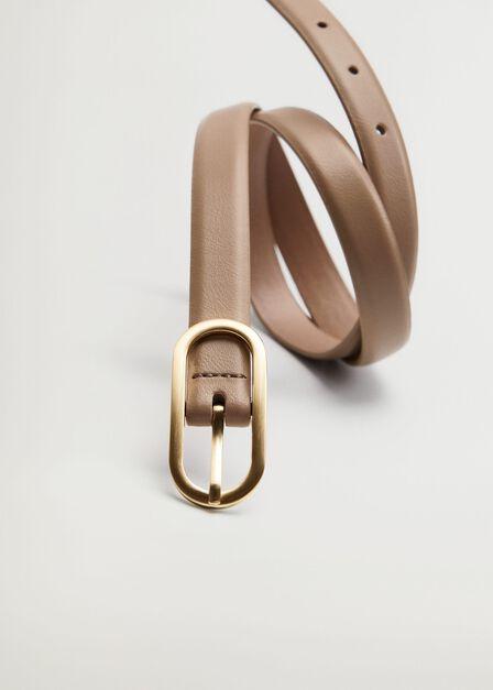 Mango - Lt-Pastel Brown Metal Buckle Belt, Women