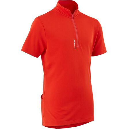BTWIN - 12-13 Years  300 Kids' Short Sleeve Cycling Jersey, Bright Red