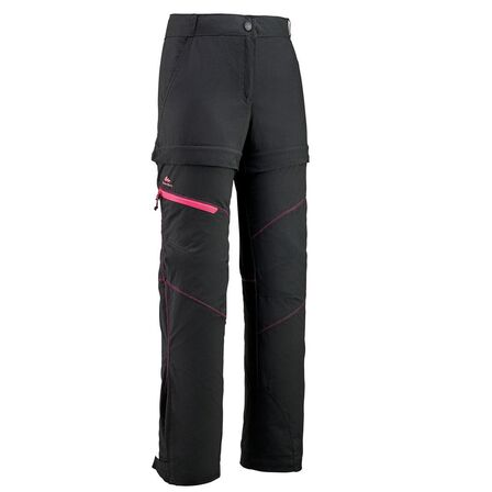 QUECHUA - 10-11Y  MH550 Children's Zip-Off Hiking Trousers, Black
