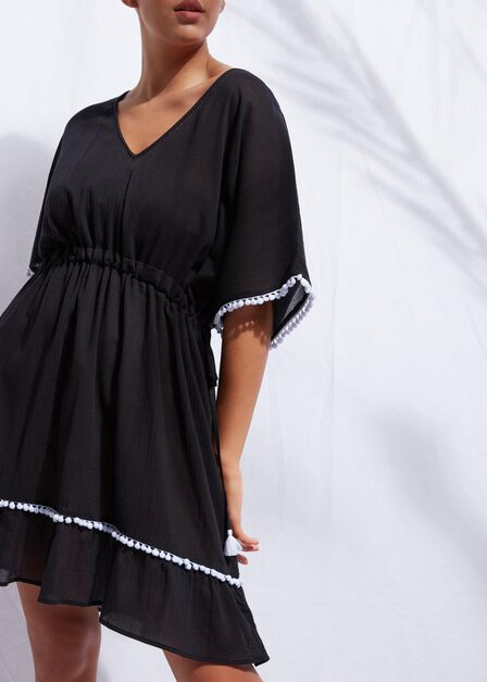 Calzedonia - Black Pom Pom Dress, Women - One-Size