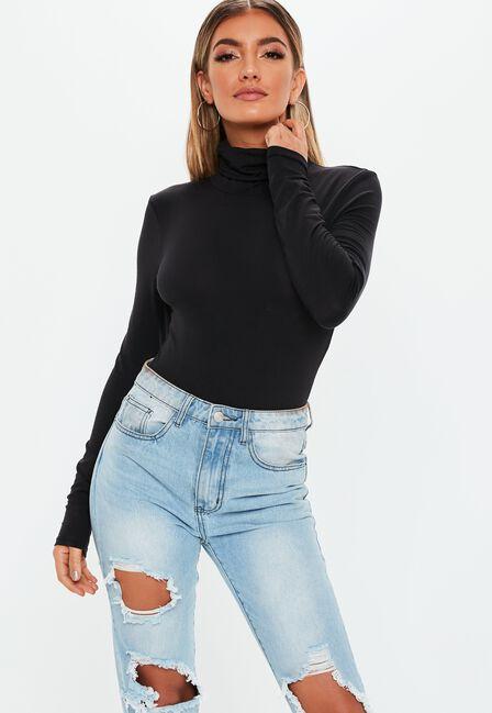 Missguided - Black Funnel Neck Long Sleeve Bodysuit