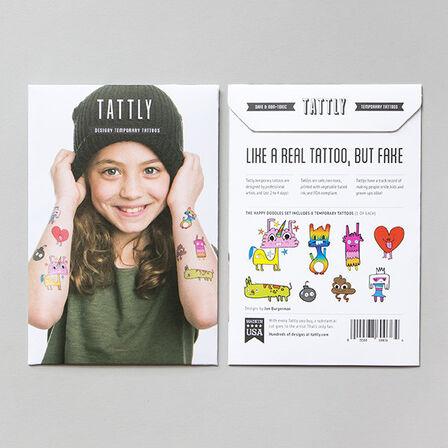TATTLY - Tattly Happy Doodles Temporary Tattoo Set