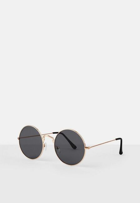 Missguided - Gold Gold Metal Frame Round Sunglasses