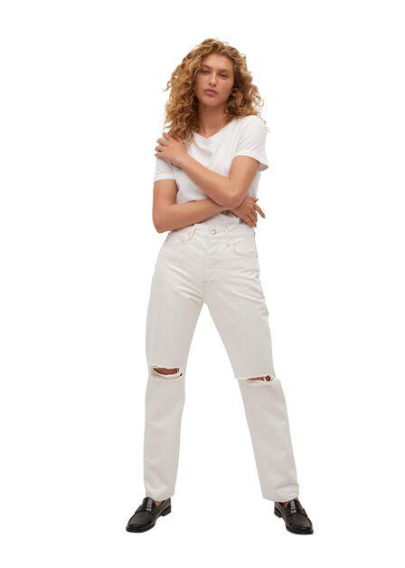 Mango - light beige Decorative rips relaxed jeans, Women
