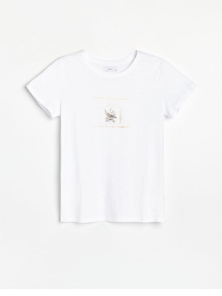 Reserved - White Cotton Shirt With Print, Women
