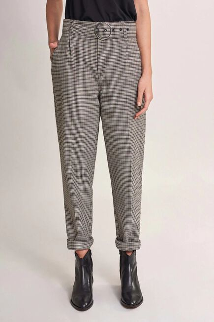 Salsa Jeans - Beige Boyfriend checked paper bag trousers with belt