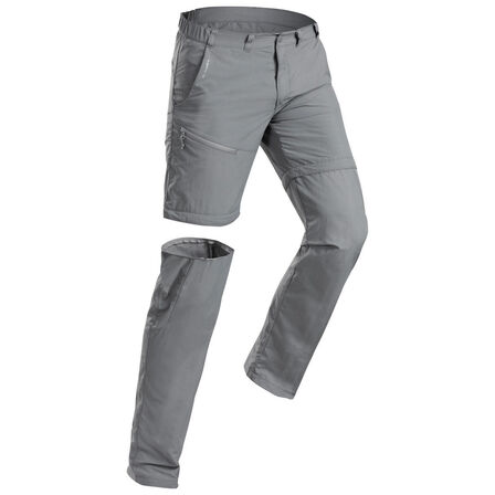 QUECHUA - W36 L34  Men's Modular Mountain Walking Trousers MH150, Charcoal Grey