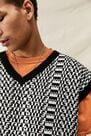 Urban Outfitters - ASSORT iets frans... Black & White Monogram Knitted Vest