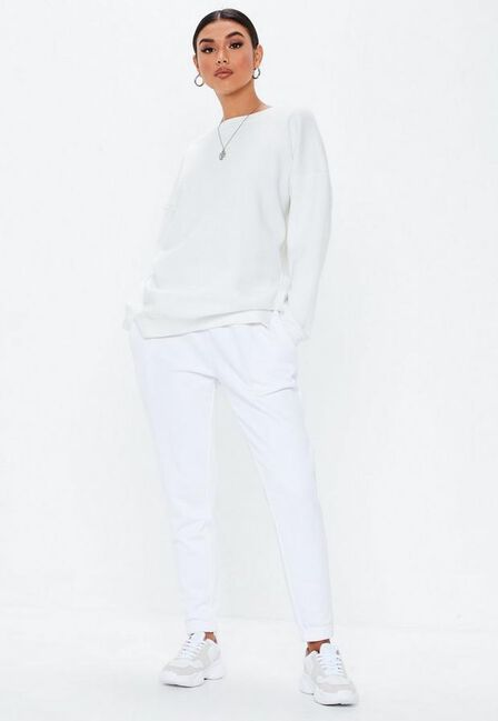 Missguided - White Basic Joggers