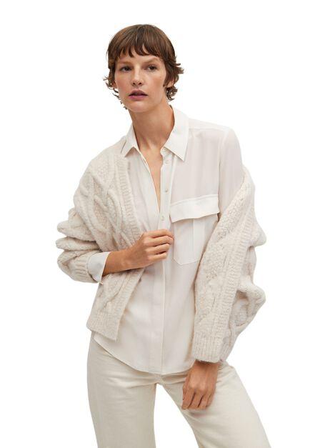 Mango - light beige 100% silk shirt