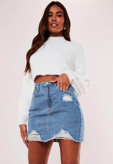 Missguided - Blue Blue Denim Ripped A Line Mini Skirt