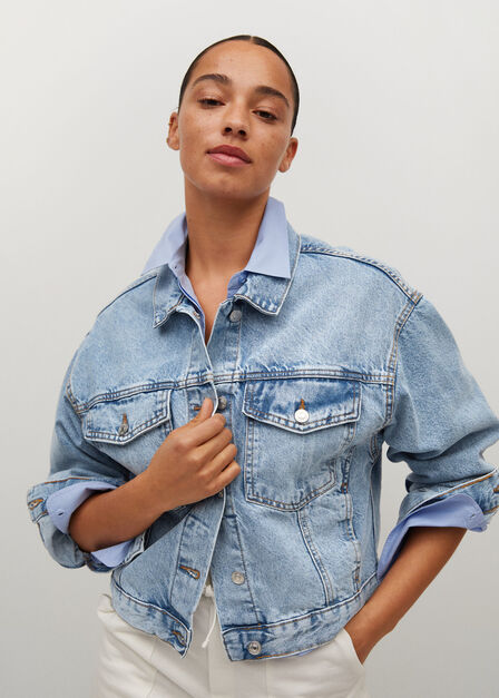 Mango - open blue Denim oversized jacket, Women