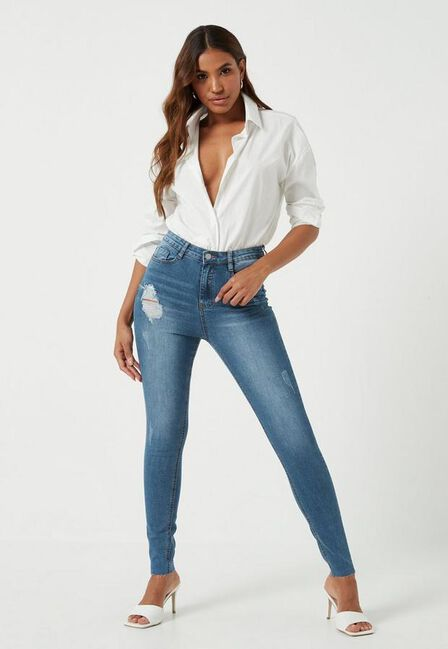 Missguided - Blue Clean Distressed Skinny Jeans