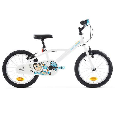 BTWIN - Kids' 16-Inch Bike (4.5-6Y) 100 - Inuit White/Blue