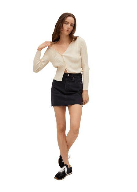 Mango - open grey Denim miniskirt with frayed hem, Women