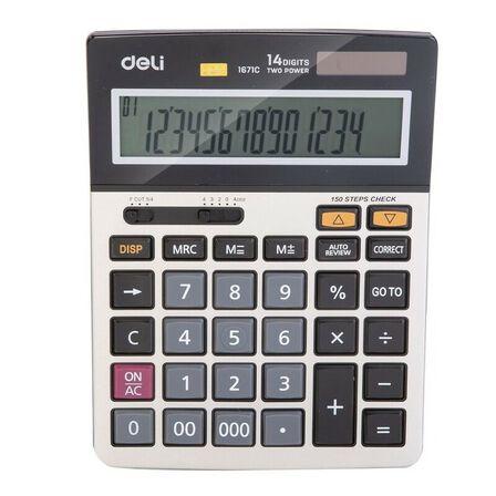 DELI - Deli Calculator Metal 12 Digits Silver