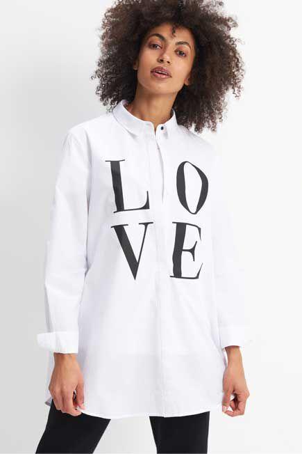 Mohito -  Oversize Printed Shirt - White